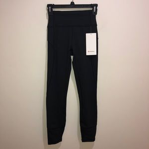 Lululemon Sz 4 In Movement 7/8 Black Leggings New